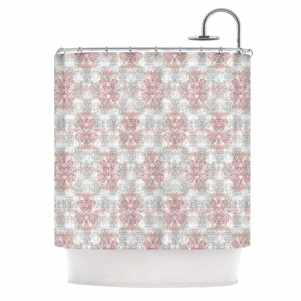 "KESS InHouse Carolyn Greifeld ""Damask Splatter"" Pink Gray Shower Curtain (69x70) - 69 x 70"