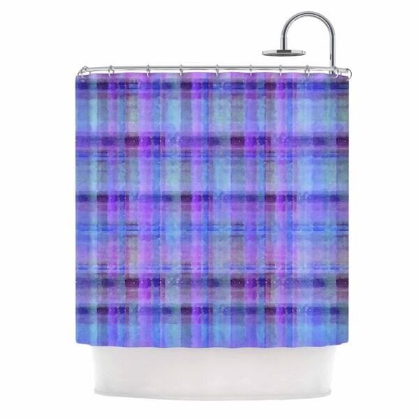 KESS InHouse Carolyn Greifeld Watercolor Blue Plaid Purple Pattern Shower Curtain (69x70)