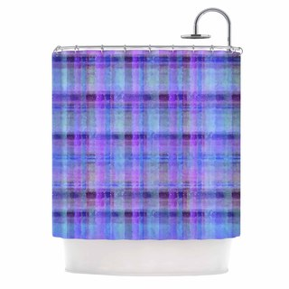 KESS InHouse Carolyn Greifeld Watercolor Blue Plaid Purple Pattern Shower Curtain (69x70)