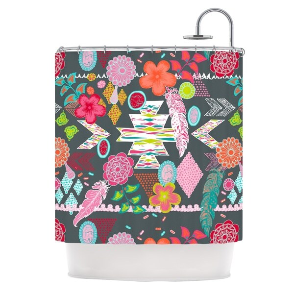 KESS InHouse Anneline Sophia Aztec Boho Tropical Gray Rainbow Shower Curtain (69x70)