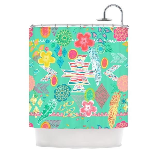KESS InHouse Anneline Sophia Aztec Boho Emerald Teal Rainbow Shower Curtain 69x70