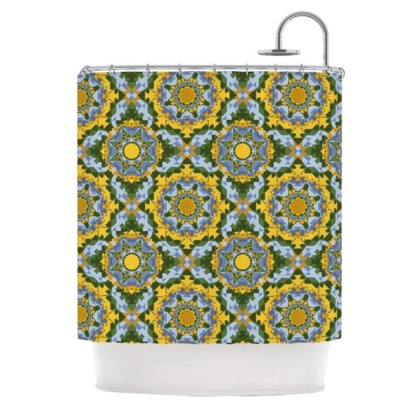 KESS InHouse Anneline Sophia Aztec Boho Yellow Blue Shower Curtain (69x70)