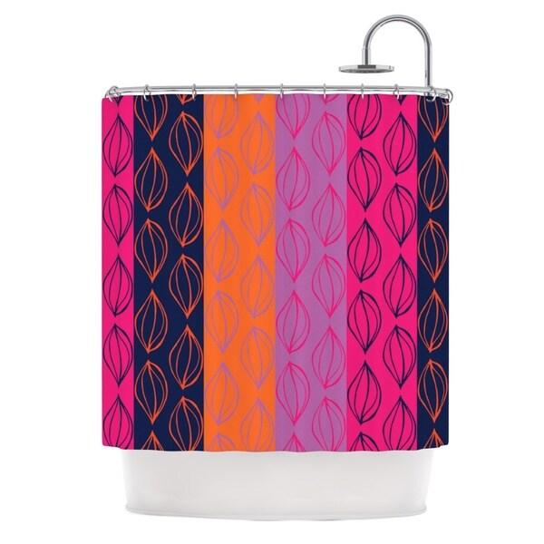 KESS InHouse Anneline Sophia Tropical Seeds Pink Orange Shower Curtain (69x70)
