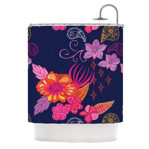 KESS InHouse Anneline Sophia Tropical Paradise Purple Floral Shower Curtain (69x70)