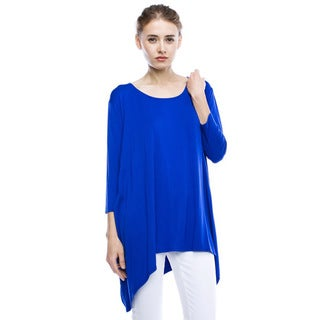 JED Women's Loose Fit Asymmetric Hem Soft and Stretchy Tunic Top