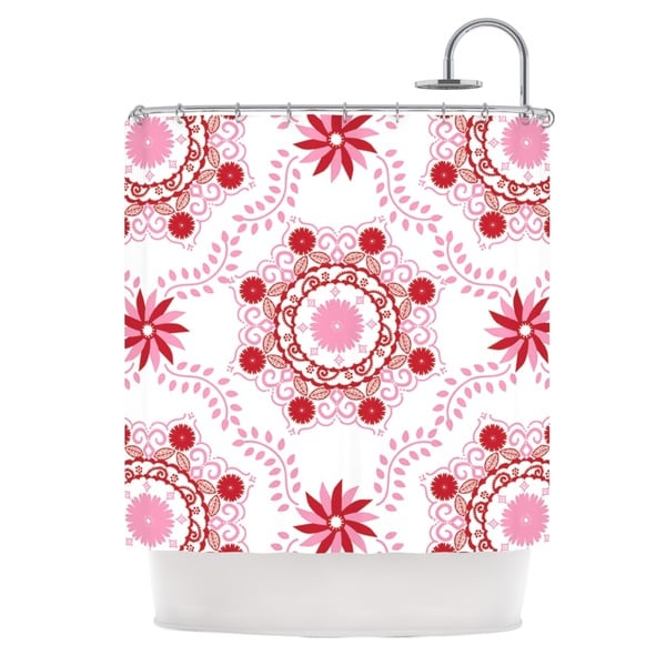 KESS InHouse Anneline Sophia Let's Dance Red Pink Floral Shower Curtain (69x70) - 69 x 70