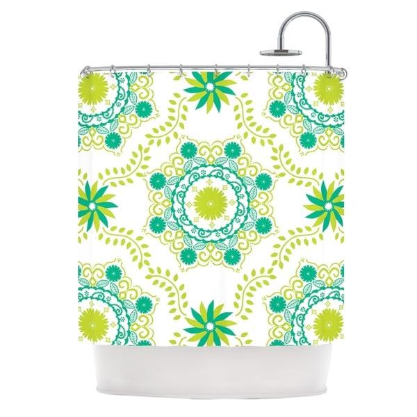 KESS InHouse Anneline Sophia Let's Dance Green Teal Floral Shower Curtain (69x70)