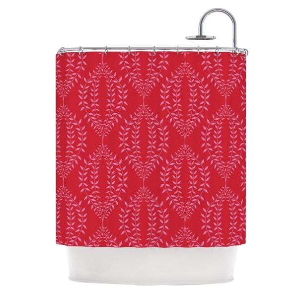 KESS InHouse Anneline Sophia Laurel Leaf Red Maroon Floral Shower Curtain (69x70)