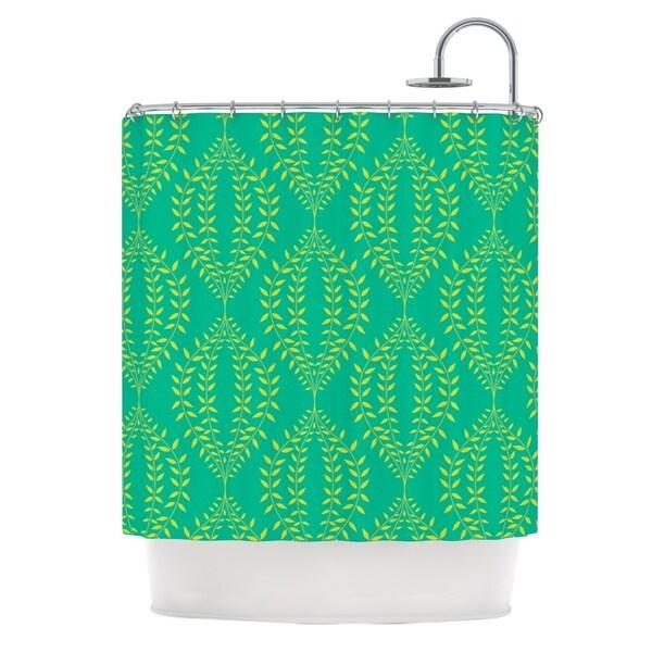 KESS InHouse Anneline Sophia Laurel Leaf Green Teal Floral Shower Curtain (69x70)
