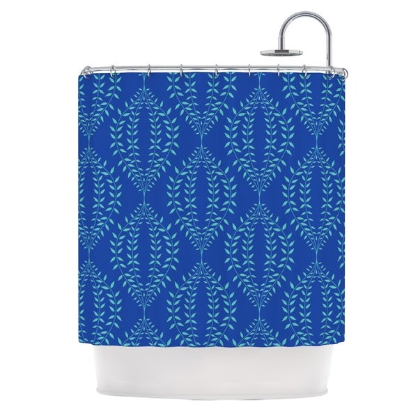 KESS InHouse Anneline Sophia Laurel Leaf Blue Navy Floral Shower Curtain 69x70