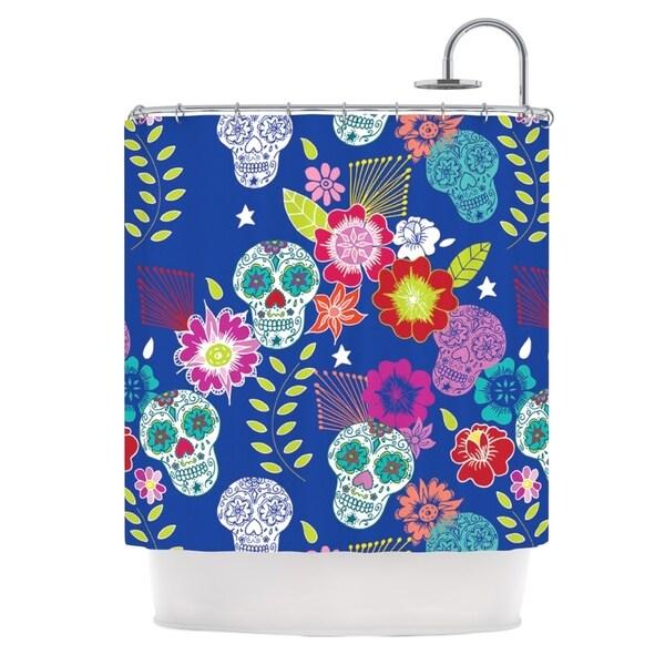 KESS InHouse Anneline Sophia Day of the Dead Blue Aztec Shower Curtain (69x70)