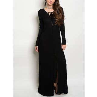 JED Women's Black Long-sleeved Stretchy Ribbed Knit Lace-up Maxi Dress|https://ak1.ostkcdn.com/images/products/15054675/P21547697.jpg?impolicy=medium