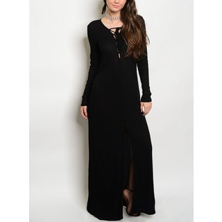 JED Women's Black Long-sleeved Stretchy Ribbed Knit Lace-up Maxi Dress