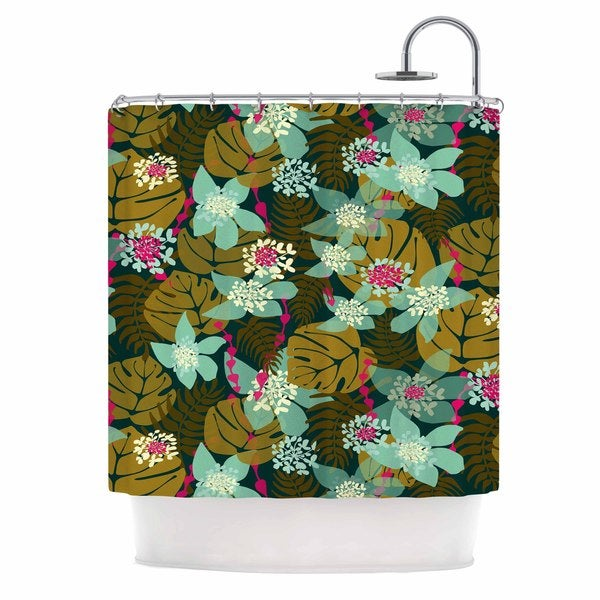 KESS InHouse Amy Reber Green Tropical Tropical Floral Shower Curtain (69x70)