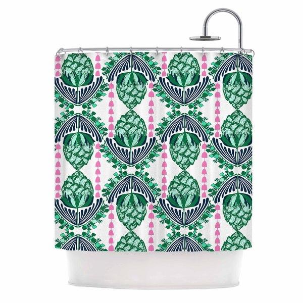 KESS InHouse Amy Reber Tassles Green Line Illustration Shower Curtain (69x70)