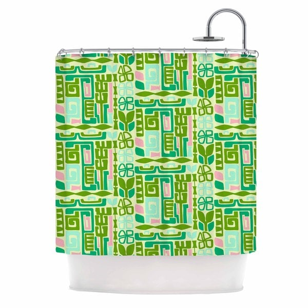 KESS InHouse Amy Reber Maze Green Vector Shower Curtain (69x70)