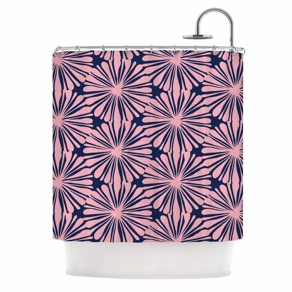 KESS InHouse Amy Reber Pink Daisy Blue Pattern Shower Curtain (69x70)