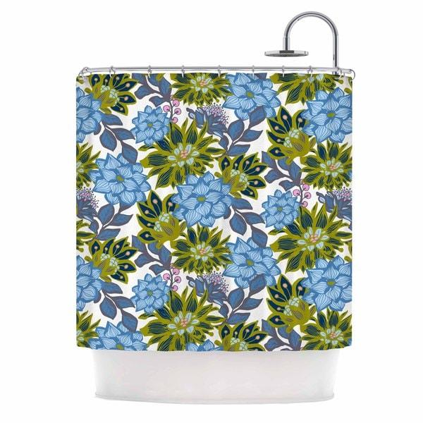 KESS InHouse Amy Reber Blue Dahlias Green Floral Shower Curtain (69x70)
