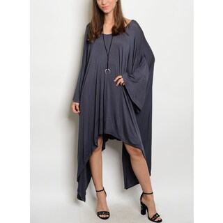 JED Women's Relaxed Fit Bell Sleeve Asymmetric Soft Knit Dress