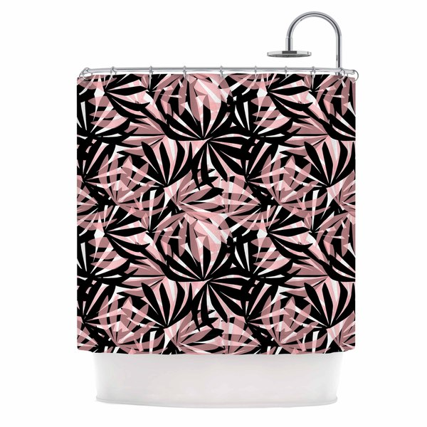 KESS InHouse Amy Reber Black And Pink Palms Leaves Pattern Shower Curtain (69x70)
