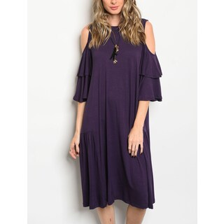 JED Women's Purple Cold Shoulder Ruffled 3/4 Sleeve Knee Length Soft Knit Dress