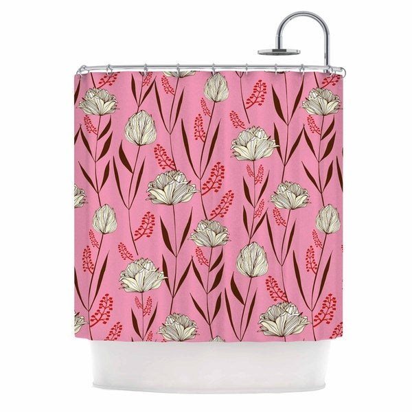 KESS InHouse Amy Reber White Floral Pink Pattern Shower Curtain (69x70)