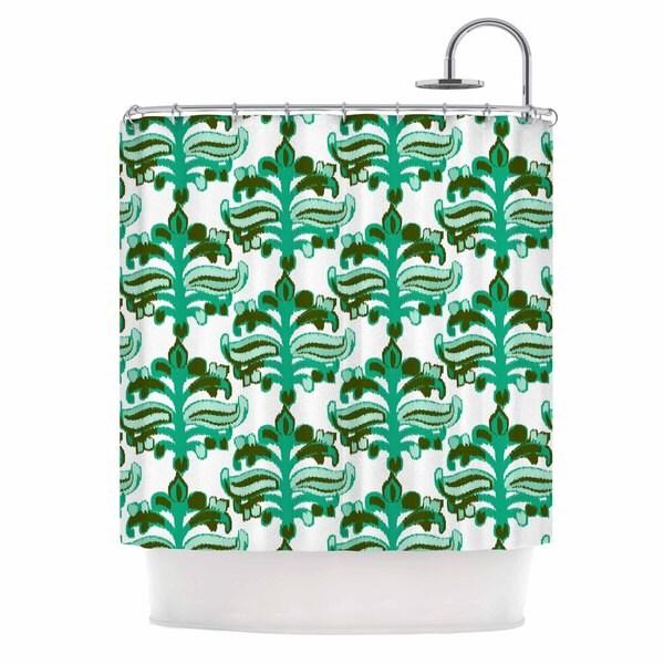 KESS InHouse Amy Reber Chandelier Ikat Green White Shower Curtain (69x70)
