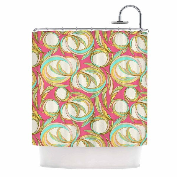 KESS InHouse Amy Reber Cirle Sings Pink Yellow Shower Curtain (69x70)