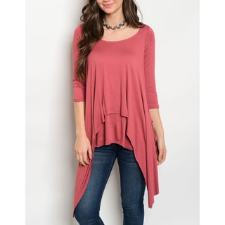 JED Women's Stretchy Soft Knit Three-Quarter Sleeve Layered-Effect Trapeze Tunic Top