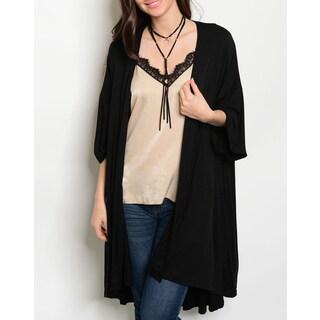 JED Women's Black Oversize 3/4-sleeve Cardigan