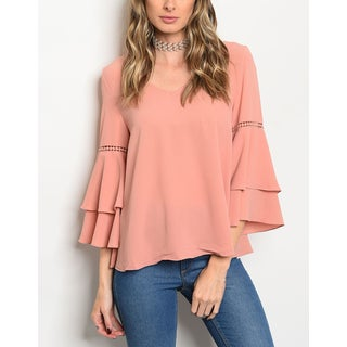 JED Women's Ruffled Bell Sleeve Top