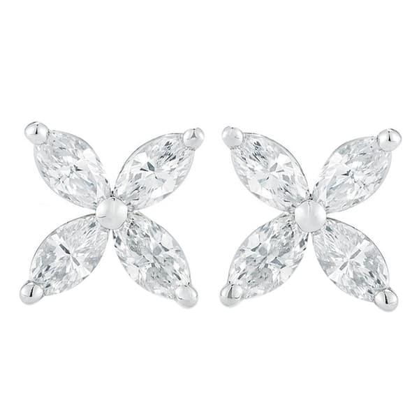 8c7bd4d66 14K White Gold 1.00 ct.TDW Marquise-cut 4-stone Diamond Stud Earrings
