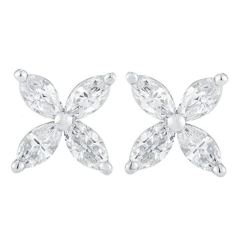 14K White Gold 1.00 ct.TDW Marquise-cut 4-stone Diamond Stud Earrings (G-H,SI1-SI2)