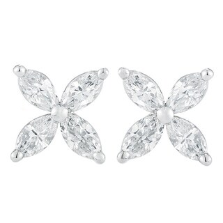 14K White Gold 1.00 ct.TDW Marquise-cut 4-stone Diamond Stud Earrings (G-H,SI1-SI2)