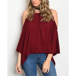 JED Women's Burgundy Soft Knit Off-shoulder Top