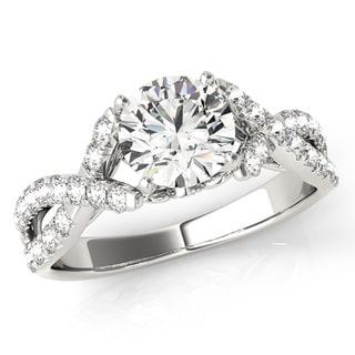 Transcendent Brilliance Split Criss Cross Shank Diamond Engagement Ring 18k Gold 1 1/4 TDW