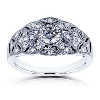 Annello By Kobelli 14k White Gold 5 8ct TGW Moissanite And Diamond Vintage Engagement Ring