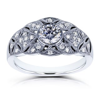 Annello by Kobelli 14k White Gold 5/8ct TCW Moissanite and Diamond Vintage Engagement Ring