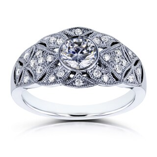 Annello by Kobelli 14k White Gold 5/8ct TGW Moissanite and Diamond Vintage Engagement Ring