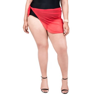 Xehar Women's Plus Size Sheer Sarong Cover-Up Wrap Skirt