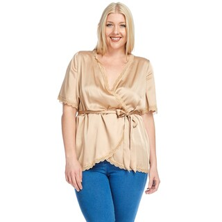 Xehar Women's Plus Size Casual V-Neck Satin Belt Waist Wrap Top