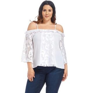 Xehar Women's Plus Size Off Shoulder Ruffle Lace Crop Blouse Top