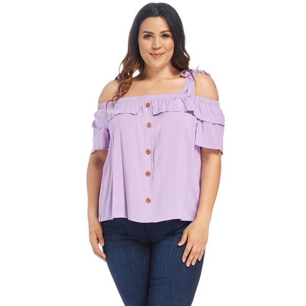 1f67ac7877f Shop Xehar Women s Plus Size Sexy Elastic Shoulder Tie Blouse Top ...