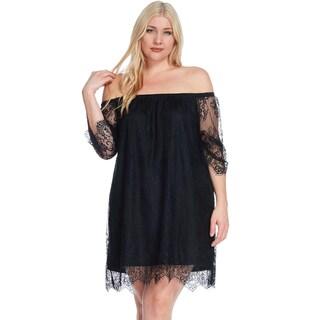 Xehar Women's Plus Size Sexy Lace Off Shoulder A-Line Short Mini Dress