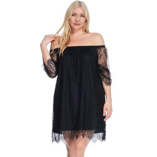 Xehar Women's Plus Size Sexy Lace Off Shoulder A-Line Short Mini Dress