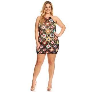 Xehar Women's Plus Size Sexy Crochet Mini Dress