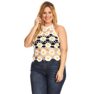 Xehar Women's Plus Size Casual Sleeveless Crochet Halter Top