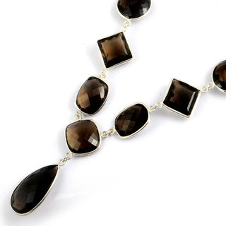Orchid Jewelry 216 Carat Smoky Quartz Sterling Silver Necklace