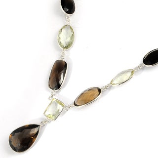 Orchid Jewelry 179 Carat Smoky Quartz and Green Amethyst Sterling Silver Necklace