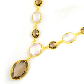 Orchid Jewelry 171 1/2 Carat Smoky Quartz and Rose Quartz Gold Vermeil Necklace
